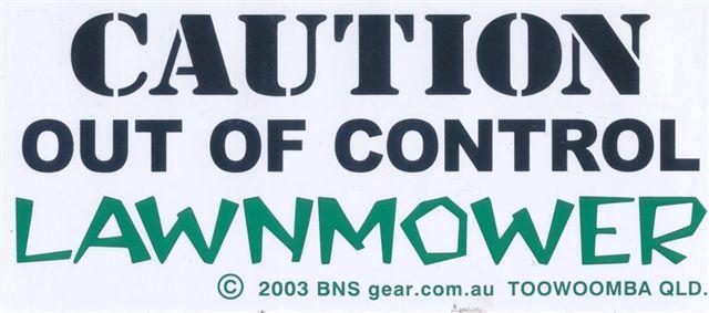 Caution Lawnmower